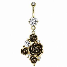 Piercing nombril plaqué or fleurs gemme blanc