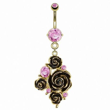 Piercing nombril plaqué or fleurs gemme rose