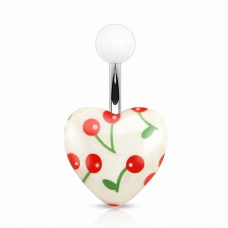 Piercing nombril cœur acrylique cerises