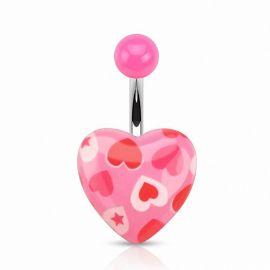 Piercing nombril cœur acrylique cœurs