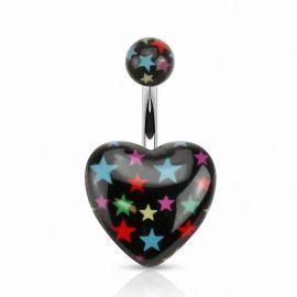 Piercing nombril cœur acrylique noir étoiles