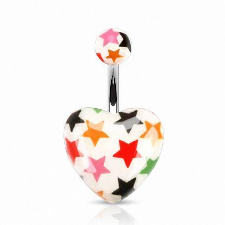 Piercing nombril cœur acrylique blanc étoiles