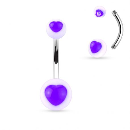 Piercing nombril acrylique cœur violet