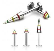 Piercing Labret Rasta Spike Acier chirurgical - Bijou Piercing Labret