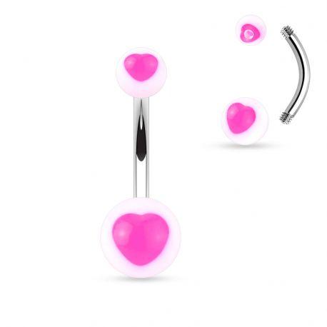 Piercing nombril acrylique cœur rose