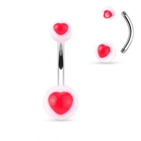Piercing nombril acrylique cœur rouge