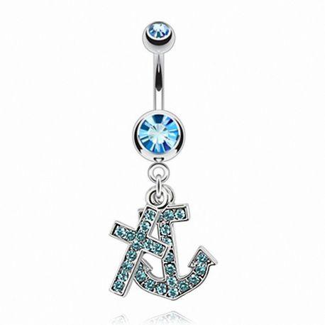 Piercing nombril croix et ancre marine turquoise