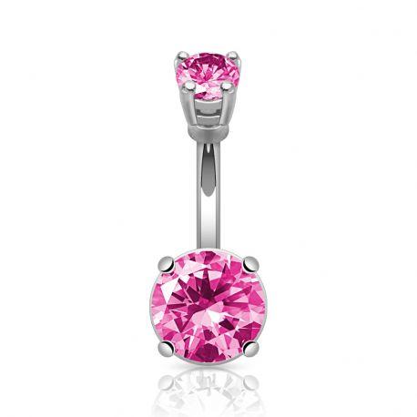 Piercing nombril large pierre rose