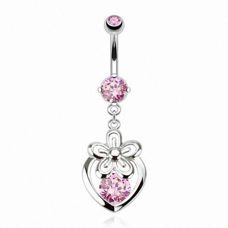 Piercing nombril 8 mm cœur et fleur rose