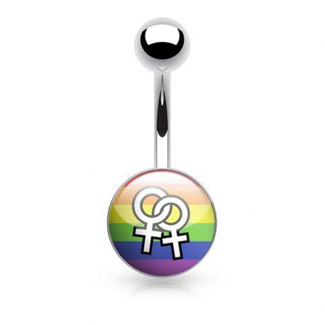 Piercing nombril logo LGBT féminin