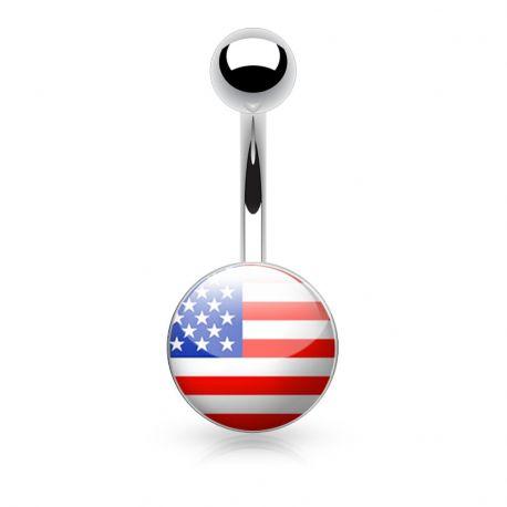 Piercing nombril logo drapeau américain