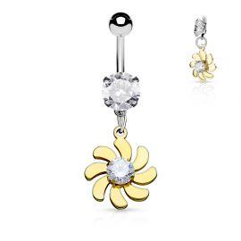 Piercing nombril fleur tourbillonnante dorée