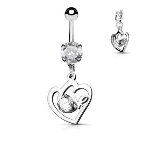 Piercing nombril cœur love avec gemme