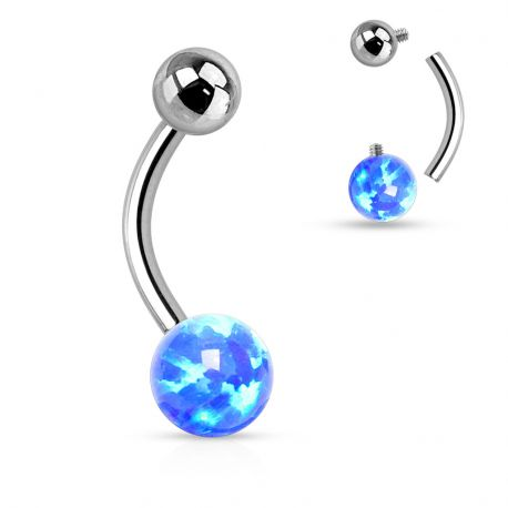 Piercing nombril opale bleue