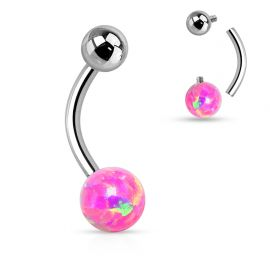 Piercing nombril opale rose