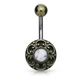 Piercing nombril cœur filigrane howlite