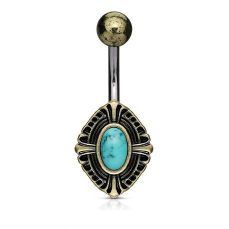 Piercing nombril croix celtique turquoise