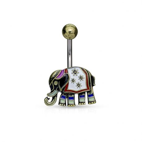 Piercing nombril éléphant antique doré