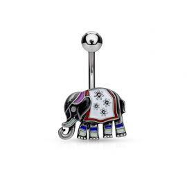Piercing nombril éléphant antique argenté