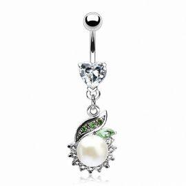 Piercing nombril cœur et perle blanche