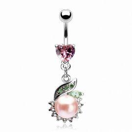 Piercing nombril cœur et perle rose