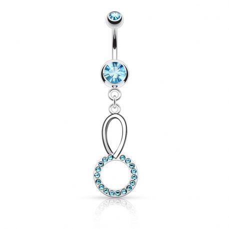 Piercing nombril cercle cristaux turquoises