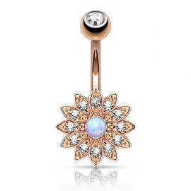 Piercing nombril petite fleur opale or rose