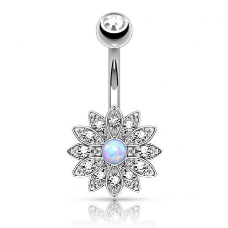 Piercing nombril petite fleur opale argenté