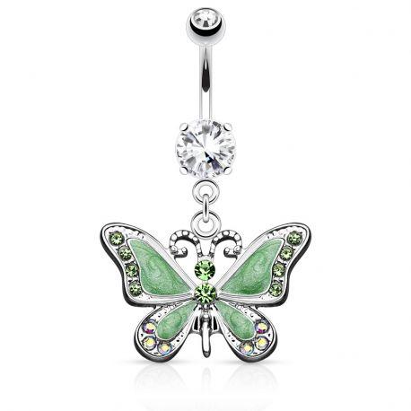 Piercing nombril papillon vert