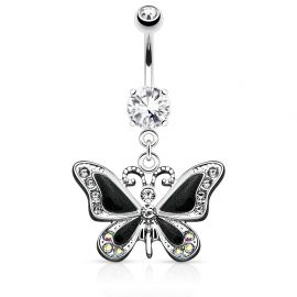 Piercing nombril papillon noir