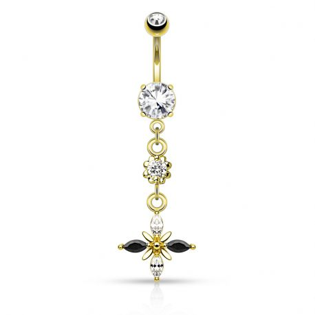 Piercing nombril strass noirs et blancs plaqué or