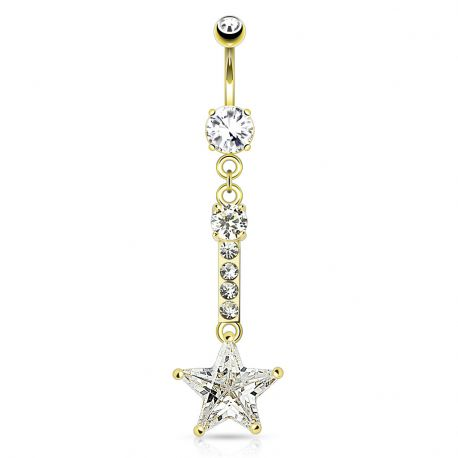 Piercing nombril chaine étoile doré