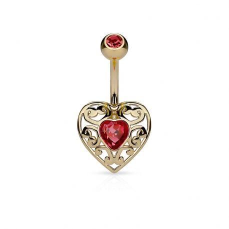 Piercing nombril cœur filigrane plaqué or