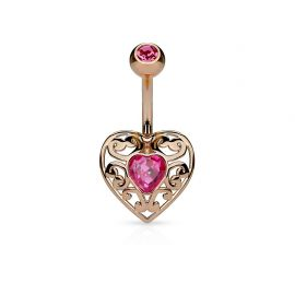 Piercing nombril cœur filigrane or rose