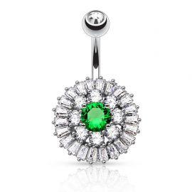 Piercing nombril cercles gemmes pierre verte