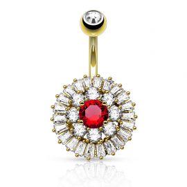 Piercing nombril plaqué or cercle gemmes pierre rouge