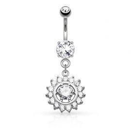 Piercing nombril cercle gemme