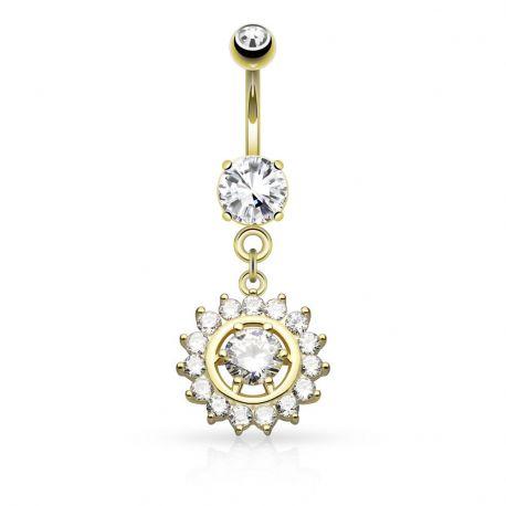 Piercing nombril cercle gemme plaqué or