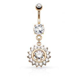 Piercing nombril cercle gemme or rose