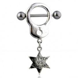 Piercing Téton Menotte Etoile de Sheriff