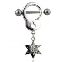 Piercing Téton Menotte Etoile de Sheriff - Bijou Piercing Téton