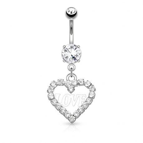 Piercing nombril pendentif cœur et love
