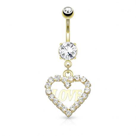 Piercing nombril pendentif cœur et love plaqué or