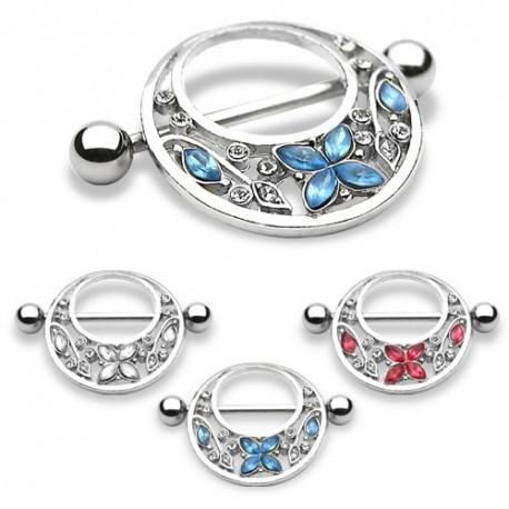 Piercing Téton Bouclier Fleurs et Papillon - Bijou Piercing Téton