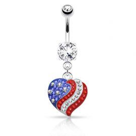 Piercing nombril cœur USA pavé de cristaux