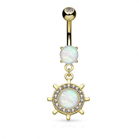 Piercing nombril plaqué or roue de yacht opale