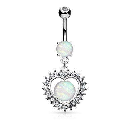 Piercing nombril cœur pavé opale