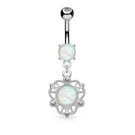 Piercing nombril fleur filigrane opale