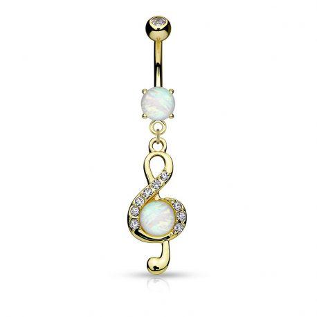 Piercing nombril clef de sol opale plaqué or