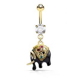 Piercing nombril plaqué or éléphant cristaux multicolores